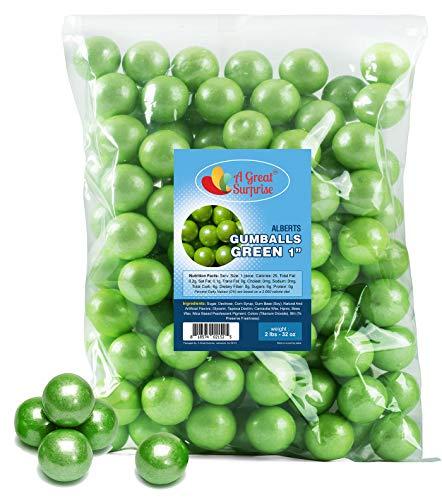 Gumballs in Bulk - Green Gumballs for Candy Buffet - Gumballs 1 Inch - Bulk Candy 2 LB