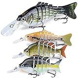 RUNCL Multi Jointed Swimbaits, Glide Baits, Bass Fishing Lures - Lifelike Design, Multi-Jointed Body Construction, Loud Rattle, Razor-Sharp Hooks, Repeated Test - Segmented Swimbaits (4pcs)