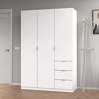 PEGANE Armoire avec 3 Portes Coloris Blanc - 200 x 135 x 52 cm