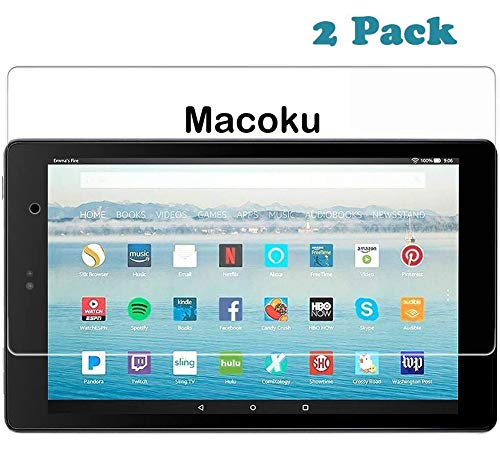 [2-Pack] Macoku All-New Fire HD 10 Screen Protector (2019/2017/2015 Release -9th /7th/5th Generation) Bubble-Free High Sensitivity Anti Fingerprint Scratch Tempered Glass/HD / 9H Hardness
