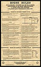ZieglerWorld Old TIME Looking Table Shuffleboard House Rules - Framed Art Poster