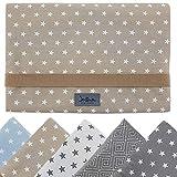 Windeltasche für unterwegs, kleine Wickeltasche für Windeln & Feuchttücher, Windeletui, Wickelmäppchen SmukkeDesign (Stern Beige Weiss)