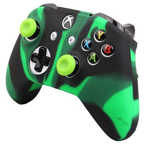 Pandaren® cubierta de silicona Fundas protectores antideslizante Solamente para Xbox One S, Xbox One X Mando x 1 (verde negro) + Thumb grips x 2