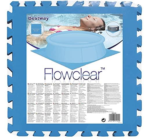 H4L Lot de 9 tapis de piscine - 50 x 50 cm - Bleu - Tapis de protection de sol pour piscine hors-sol
