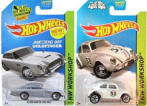 Hot Wheels Aston Martin #200 & Herbie The Love Bug Volkswagen #53 Goldfinger Disney Movie Replica All-Stars car set IN CASES 2014