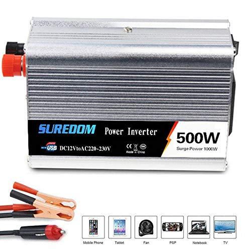 HPDOW Wechselrichter 300W 500W 800W Spannungswandler DC 12/24 Vauf AC 110/220V Inverter Auto mit Steuerbare Schalter und USB Anschlüsse inklusive Autobatterie Clips,12vto220v-500w