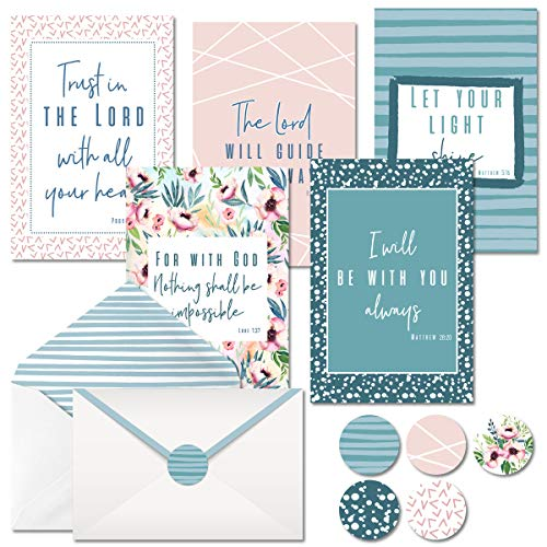 4x6 Blank Christian Greetings Bible Verse Scripture Cards with Envelopes and Matching Stickers, Boxed Set of 20 Religious Inspirational Cards in 5 Unique Designs by Nora's Nursery