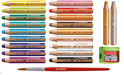 Stabilo Woody Buntstift 3 in 1 Holz Multitalent-Farbstift rund Set (20 Stifte m Pinsel u Spitzer, Sortiert | 18+2 Farben)