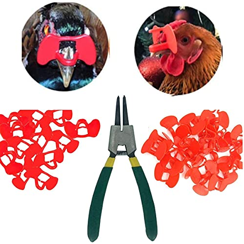 Weilan 20 Pieces Pinless Peepers with Pliers Chicken Peepers Eye Glasses Pheasant Poultry Blinders Spectacles Anti-Pecking Plier Tool(Red)