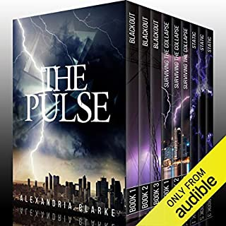 The Pulse Super Boxset     EMP Post-Apocalyptic Fiction              Written by:                                                                                                                                 Alexandria Clarke,                                                                                        James Hunt                               Narrated by:                                                                                                                                 Tia Rider Sorensen,                                                                                        Romona Master,                                                                                        Mikela Drew                      Length: 40 hrs and 32 mins     10 ratings     Overall 3.4
