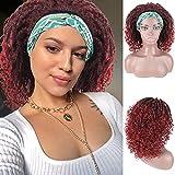 Braided Headband Wigs for Black Women Synthetic Goddess Twist Crochet Hair Dread lock Wigs Short Bob Afro Curly Wig with Headband Attached 14 Inch (1B/BUG)