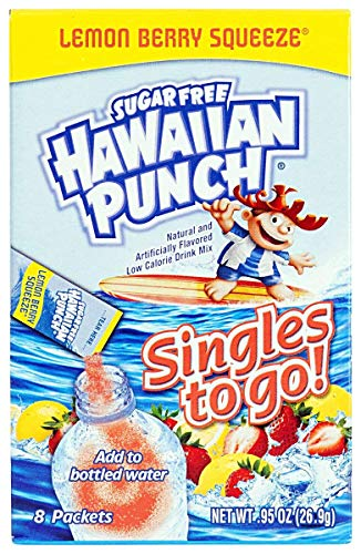 Hawaiian Punch Singles To Go Lemon Berry Squeeze Sugar Free Drink Mix 8-Count (Pack of 4)
