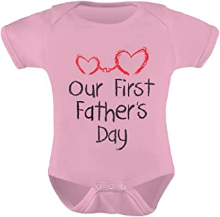 Tstars - Our First Father's Day - Daddy and Me Cute Bodysuit Baby Bodysuit