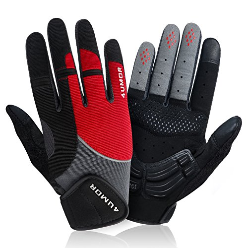 4UMOR Cycling Gloves Full Finger Gel Padded for Mountain Bike Road Riding Touch Screen Gloves, For Men and Women (Large)