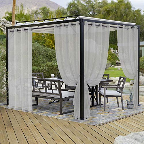 LORDTEX Burlap Linen Look Outdoor Curtains for Patio - 2 Panels Waterproof Sheer Curtains for Pergola, Porch, Cabana and Gazebo Grommet Indoor/Outdoor Voile Sheer Drapes (52 x 108 inch, Silver)