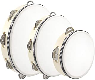 """3PCS Tambourines for Adults and Kids, 6"""" 8"""" 10"""" Tambourines Bell Instrument Cahone Drum, Musical Instruments Hand Held Drum Bell Birch Metal Jingles Percussion for School, Party, KTV Concert(Wooden)"""