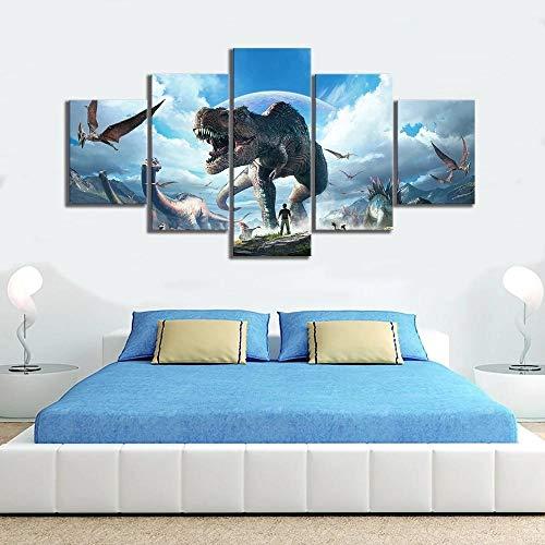 WANGZUO 5 Teilig Leinwanddrucke Wandbilder Wohnzimmer KüChe Modern Deko Bilder Ark Survival Evolved Videospiel Leinwandbilder Bild Auf Leinwand Wandbild Modulare Bilder -150x80CM