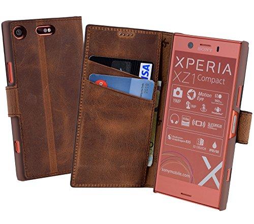 Suncase Book-Style für Sony Xperia XZ1 Compact (Slim-Fit) Ledertasche Leder Tasche Handytasche Schutzhülle Hülle Hülle (mit Standfunktion & Kartenfach) antik Coffee