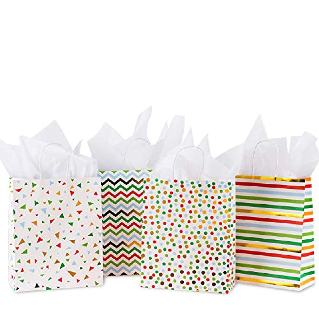 Loveinside Gift Bags with Tissue Paper - 4pcs Colorful Geometric with Gold Foil Design for Shopping,Parties,Wedding,Baby Shower,Craft - 10