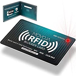RFID blocker card with LED indicator technology Latest jammer | German brand No residual radiation 100% protection thanks to E-Field | No more protective covers Credit card EC Bank NFC 13,56 MHz
