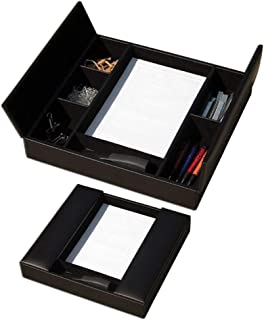 Dacasso Classic Black Leather Enhanced Conference Room Organizer
