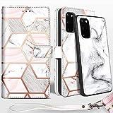 Shields Up Handyhülle für Galaxy S20 Ultra Hülle,[abnehmbare] magnetische Schutzhülle,[Kartenfach],[Standfunktion] Schlaufe, [veganes Leder] für Samsung Galaxy S20 Ultra Tasche - Marmor