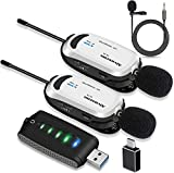 Wireless lavalier Microphone for Computer-Alvoxcon USB Dual Lapel Mic System for Android, PC, Laptop, Speaker, Podcasting, Vlog, YouTube, Conference, Vocal Recording, (with Monitor Jack)…