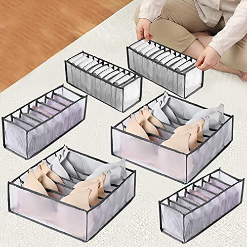 Auflosung 6 Pack Organizador Cajones Ropa Interior Plegable Cajas Organizadoras Organizador de Ropa Interior Plegable Organizador de Armario Plegable cajón para Bra, Calcetines