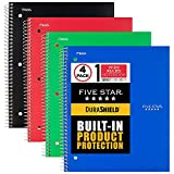 Five Star DuraShield Notebook with Antimicrobial Front Cover, 1 Subject, Wide Ruled, 10-1/2' x 8', 4 Pack (930021-ECM)
