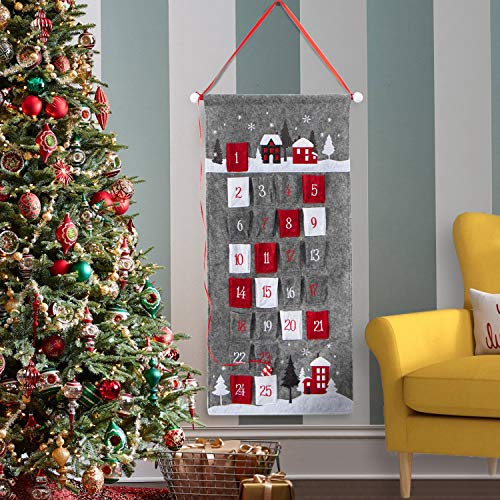 EDLDECCO 2020 Advent Calendar for Christmas Fabric 25 Days Countdown to Xmas Cloth Home Wall Hanging Holiday Decorations Ornaments (Grey)
