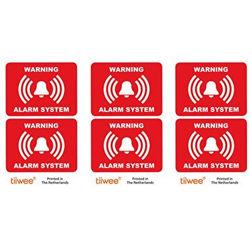 Tiiwee Etiquetas de Alarma de Seguridad para el Hogar - Rojo - Doble protección UV - Extra laminadas - tamaño 70mm x 50mm - Exterior - Set de 6 etiquetas