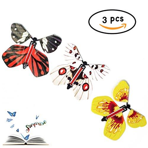 3 Fliegende Papier Schmetterlinge - Verschiedene Farben - Überraschungsgeschenk in Büchern Oder Briefen zu Halten - Magic Flying Butterfly Surprise - Melquiades Original (Klar)