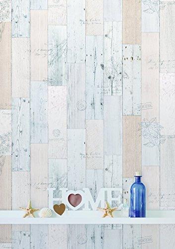 """(Hierba Vintage, Paquete de 2) Papel tapiz de mural autoadhesivo con veta de madera reciclada y rústica 50cm X 3M (19,6"""" X 118""""), 0,15mm Para revestimiento de restauración de muebles, sala de estar"""