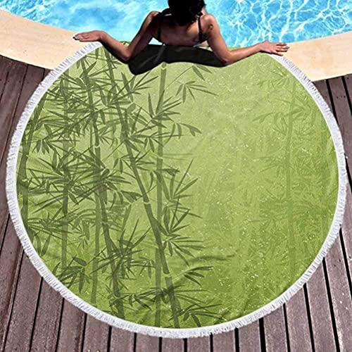 Toalla redonda para yoga, toalla de playa exótica para niños pequeños, bosque tropical, selva, paraíso, ecología, Feng Shui, toallas de spa, manta para viajes, piscina, murciélago, pistacho, verde, he