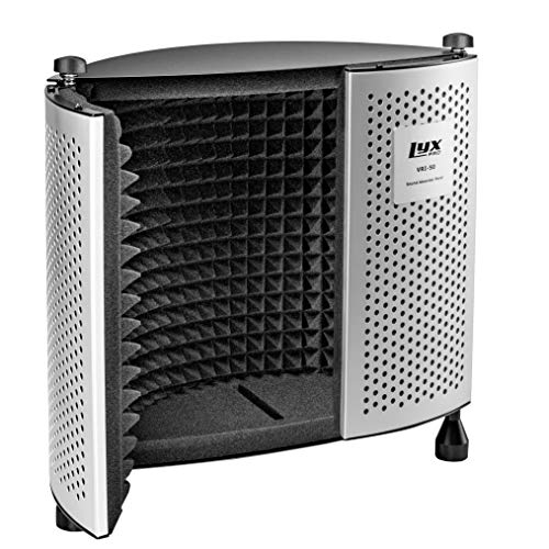 LyxPro Sound Absorbing Acoustic EVA Foam Isolation Portable Microphone Shield, Vocal Recording Panel, Four Side Enclosed High Performance, Collapsible - Stand Mountable - VRI-50