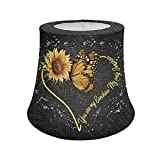 Coloranimal Yellow Sunflower Butterfly Lampshade, Soft Lamp Shade Cover Table/Desk Lamp Shade Protector Home Decorative Universal Size 7.1 x 9.5 x 7.9 inch,Flower Printed