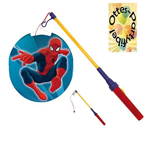 HHO Laternenset Ballonlaterne Lampion Spiderman + LED Laternenstab Leuchtstab