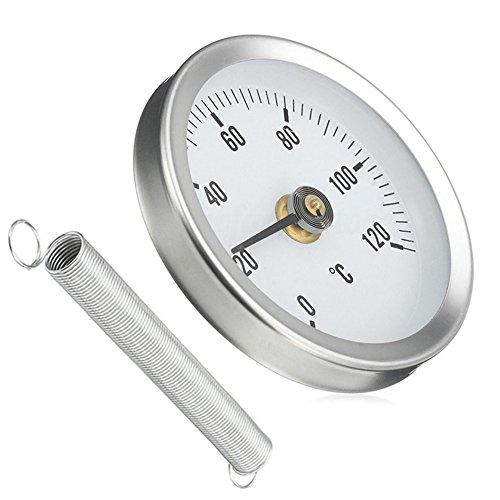 Espeedy Cadran de thermomètre à clip pour tuyau 63mm 0–120en métal avec ressort