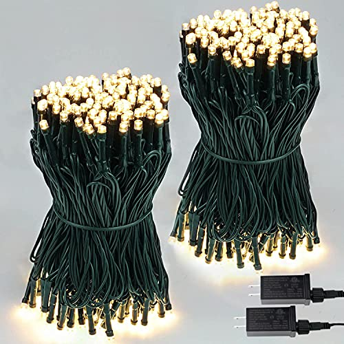 Extendable 2-Pack 66FT 200 LED Christmas String Lights for Indoor/Outdoor, Christmas Tree Lights on Green Wire, 8 Modes Plug in Fairy String Lights for Xmas Decor Party Wedding Garden (Warm White)