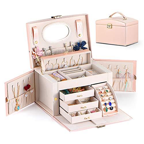 Watch Box Caja De Almacenamiento Para Reloj Mini organizador de caja de joyería para mujeres, 3 capas de cuero de cuero de joyería de cuero regalo con bloqueo y espejo, estuche de viaje portátil, estu