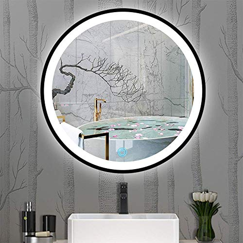 FACAIA Espejo de baño LED de Pared Espejo de tocador Redondo IP65 Interruptor táctil Regulable con luz Impermeable Marco de aleación de Aluminio Negro (Tamaño: 60 cm)