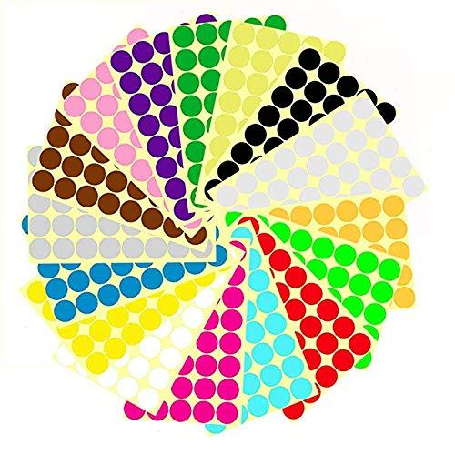 ZARRS Adesivi Colorati Rotondi,16mm Etichette Colorate 14 Colori Stampabili Scritti a Mano per Calendari con Codifica a Colori,Dvd,Libri Scolastici 1512 Pezzi