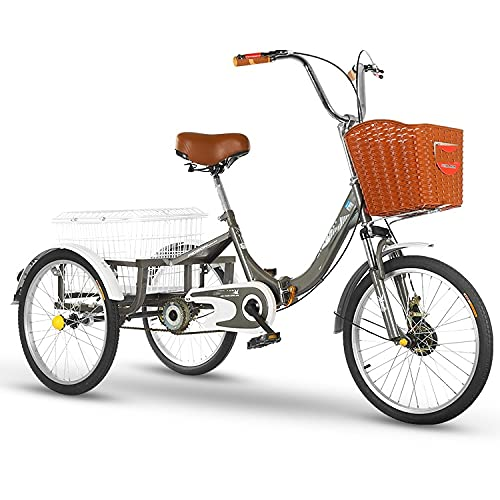 zyy Adult Tricycle 1 Speed 3 Wheel Trike Bike Cruiser with 20 Big Wheels Large Front Adult Folding Tricycles for Shopping WInstallation Tools for Men and Women Color Gray