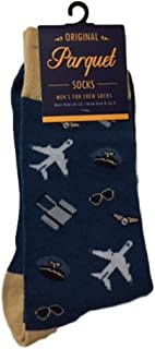 Men's Fun Crew Socks, Shoe Size 6-12.5, Great Holiday/Birthday Gift/Cotton drawstring bag included (Pilot/Aviation)
