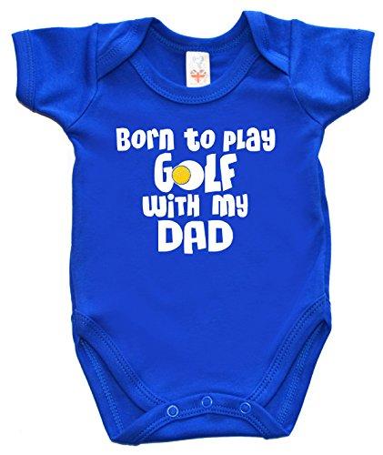 Dirty Fingers, Born to Play Golf with My Dad, Body unisexe pour bébé - Bleu - XXS