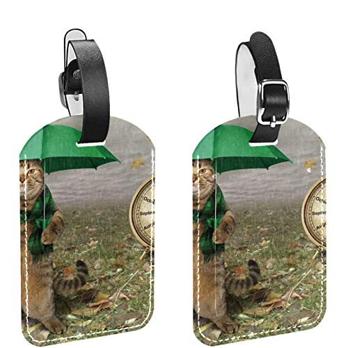 Luggage Tag Set of 2, His Hers Ours Travel Bag Tag, Suitcase Tag, School Bag Tag Cat Funny