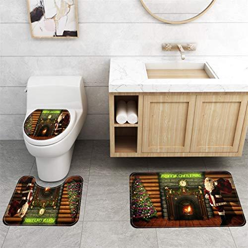 Shirt Luv Home Decor Merry Christmas Bath Mat Toilet Mats Toilet Lid Cover 3pcs Set