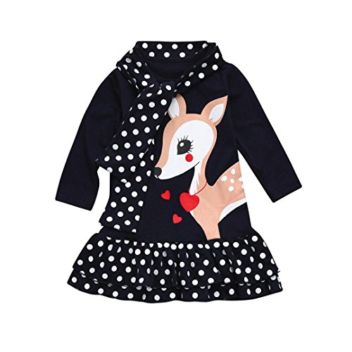 Kobay Kobay Kleinkind Baby Mädchen Kinder Kleidung Langarm Dot Deer Tops T-Shirt Kleid (110/3Jahr, Dunkelblau)