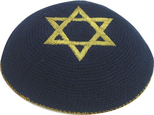 Schwarz van David Etnische Joodse schädeldecke gehaakte kippa van Israël