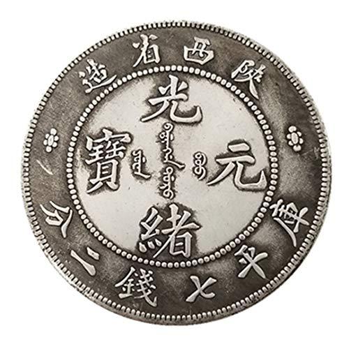 Moneda de Plata Antigua de China Guangxu Yuanbao Shaanxi Hace Que la Plata de latón Plateado Siete Dinero Monedas de Plata conmemorativas Monedas de la Copia